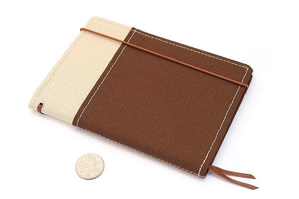 Kokuyo Systemic Refillable Notebook Cover - A6 - Khaki/Brown - KOKUYO NO-659B-3
