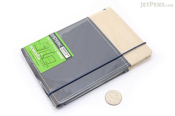"Kokuyo Systemic Refillable Notebook Cover - A6 (4.1"" X 5.8"") - Khaki / Navy - Pack of 5 - KOKUYO NO-659B-4 BUNDLE"