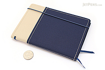 Kokuyo Systemic Refillable Notebook Cover - A6 - Khaki/Navy - KOKUYO NO-659B-4