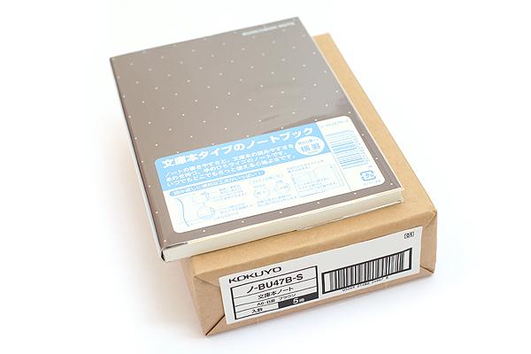 "Kokuyo Buncobon Dot Cover Notebook - A6 (4.1"" X 5.8"") - Normal Rule - 23 Lines - 70 Sheets - Sepia - Pack of 5 - KOKUYO NO-BU47B-S BUNDLE"