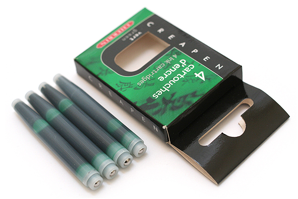 J. Herbin CreaPen Refillable Bristle Brush Pen Refill Cartridge - Green - Pack of 4 - J. HERBIN H204/37