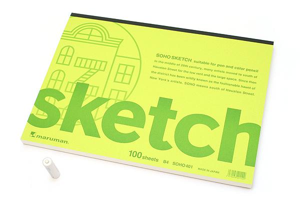 """Maruman Soho Sketch Pad - B4 (13.9"""" X 9.8"""") - 96.4 g / sq m Blank Paper - MARUMAN SOHO401"""