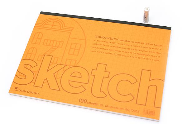 """Maruman Soho Sketch Pad - B4 (13.9"""" X 9.8"""") - 52.3 g / sq m Croquis Paper - 10 mm Graph - 100 Sheets - MARUMAN SOHO402"""