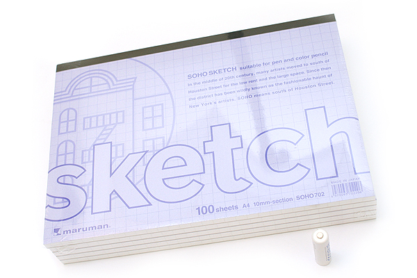 "Maruman Soho Sketch Pad - A4 (11.7"" X 8.3"") - 52.3 g / sq m Croquis Paper - 10 mm Graph - 100 Sheets - Pack of 5 - MARUMAN SOHO702 BUNDLE"