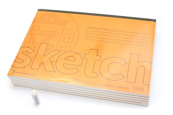 "Maruman Soho Sketch Pad - B4 (13.9"" X 9.8"") - 52.3 g / sq m Croquis Paper - 10 mm Graph - 100 Sheets - Pack of 5 - MARUMAN SOHO402 BUNDLE"