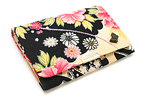 Heiando Fabric Business Card Case - Flower and Temari - Black - HEIANDO TEMARI-B