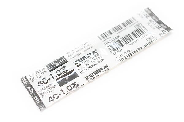 Zebra 4C-1.0 Ballpoint Pen Refill - D1 - 1.0 mm - Black - ZEBRA R4C10-BK