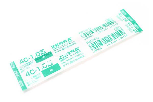 Zebra 4C-1.0 Ballpoint Pen Refill - D1 - 1.0 mm - Green - ZEBRA R4C10-G