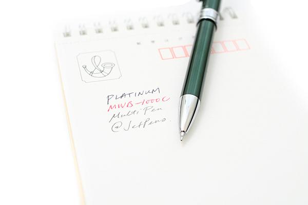 Platinum MWB-1000C 2 Color 0.7 mm Ballpoint Multi Pen + 0.5 mm Pencil - Green Body - PLATINUM MWB-1000C 41