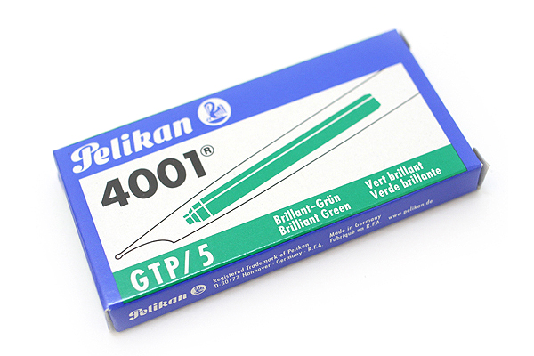 Pelikan 4001 GTP/5 Fountain Pen Ink Cartridge - Long - Brilliant Green - Pack of 5 - PELIKAN 310631