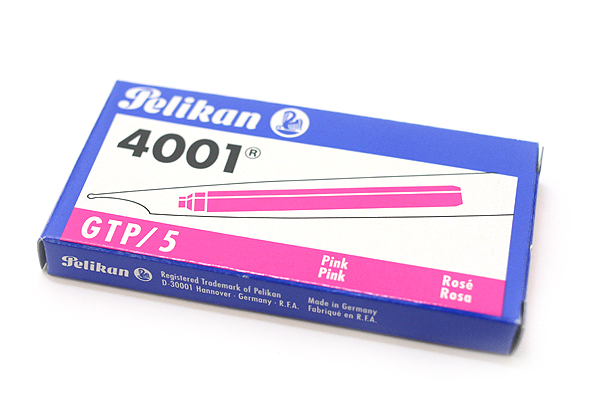 Pelikan 4001 GTP/5 Fountain Pen Ink Cartridge - Long - Pink - Pack of 5 - PELIKAN 310672