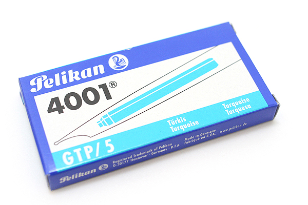 Pelikan 4001 GTP/5 Fountain Pen Ink Cartridge - Long - Turquoise Blue - Pack of 5 - PELIKAN 310656