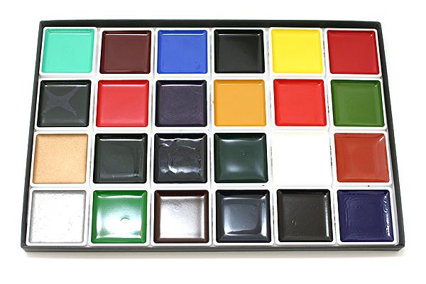 Akashiya Japanese Gansai Watercolor Palette Box - 24 Color Set - AKASHIYA AP260-24V