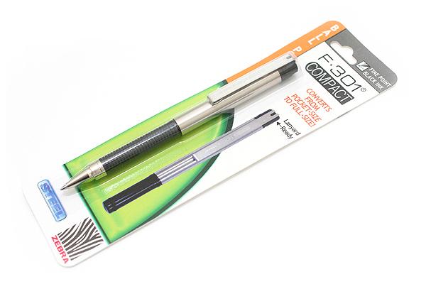 Zebra F-301 Compact Stainless Steel Ballpoint Pen - 0.7 mm - Black - ZEBRA 27411