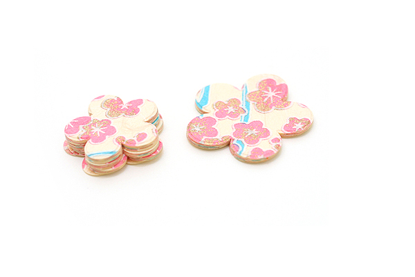 Kuretake Yuzen Die Cut Japanese Paper Sticker Set - Ume - Pack of 5 Big & 15 Small - KURETAKE LA30S-3