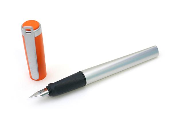 Lamy Nexx M Aluminum Body Fountain Pen - Extra Fine Steel Nib - Orange Cap + Metal Clip - LAMY 89 EF