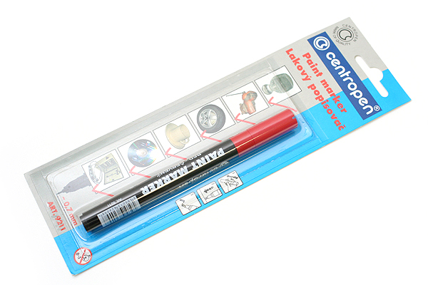 Centropen 9211 Lacquer Multi-Surface Paint Marker Pen - 0.7 mm - Red - CENTROPEN 5 9100 9904