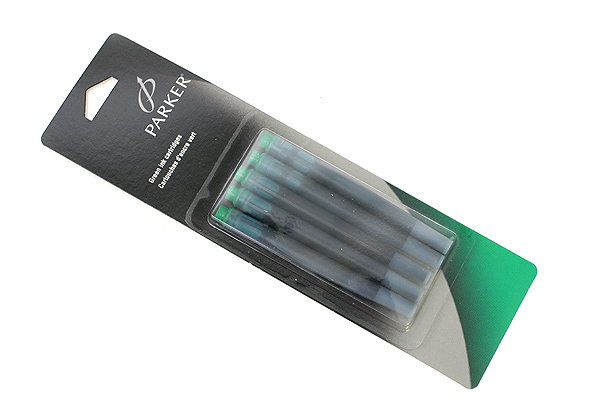 Parker Quink Fountain Pen Ink Cartridge - Green - Pack of 5 - SANFORD 30408