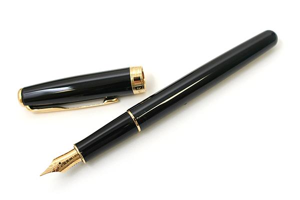 Parker Sonnet Fountain Pen - Black Lacquer Body with Gold Trim - Medium Nib - SANFORD S0808710