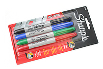 Sharpie CD-DVD Permanent Marker - Fine + Ultra Fine - Pack of 4 Colors - SANFORD 37030PP