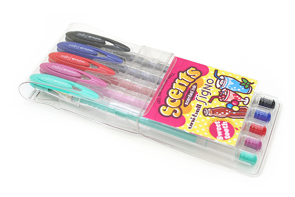 Uni-ball Signo Scents UM-120SC Gel Ink Pen - 0.8 mm - 5 Sweet Tooth Color Set - UNI UM-120SC ST