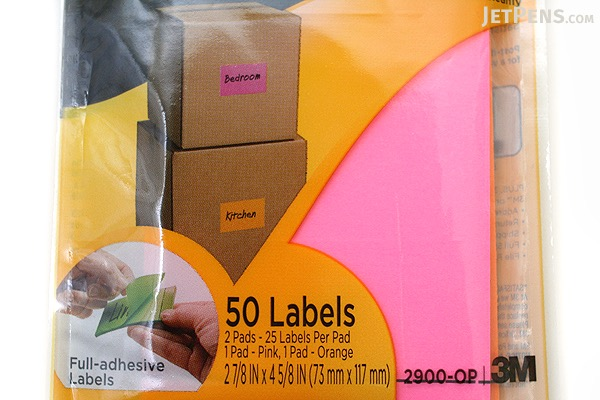 3M Post-It Super Sticky Removable Label Pad - 2 7/8 in x 4 5/8 in - 25 Sheets - Pack of 2 Pads - 3M 2900-OP