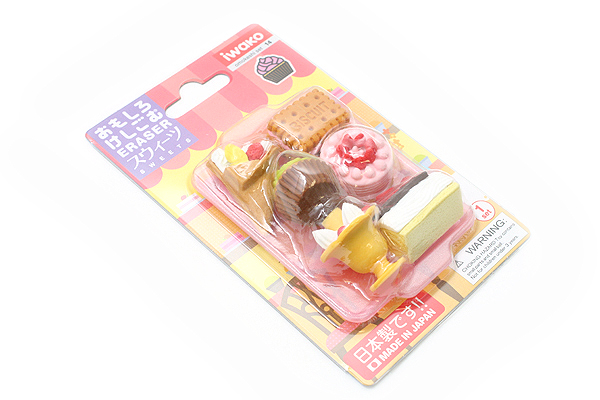 Iwako Sweets on Tray Novelty Eraser - 6 Piece Set - IWAKO ER-BRI017