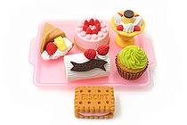 Iwako Sweets on Tray Novelty Eraser - 6 Piece Set - IWAKO ER-BRI017