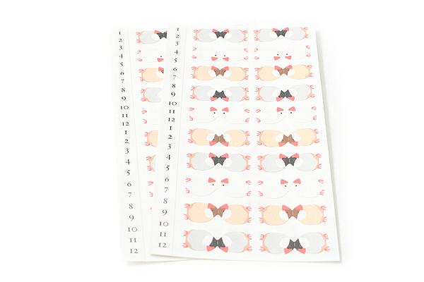 Midori Index Label Sticker - Java Sparrow (Paddy Bird) - 2 Sheets - MIDORI 230903