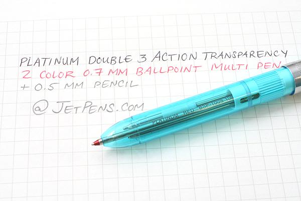 Platinum MWB-500RS Transparent Body 2 Color 0.7 mm Ballpoint Multi Pen + 0.5 mm Pencil - Aqua Blue Body - PLATINUM MWB-500RS 59