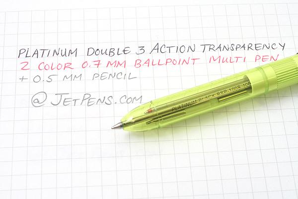 Platinum MWB-500RS Transparent Body 2 Color 0.7 mm Ballpoint Multi Pen + 0.5 mm Pencil - Fresh Leaf Green Body - PLATINUM MWB-500RS 42