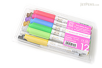 Kuretake Zig Wink of Stella Glitter Marker - 0.8 mm - 12 Color Set - KURETAKE MS-40-12V