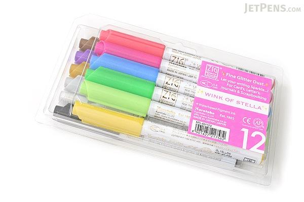 Kuretake Zig Wink of Stella Glitter Marker - 0.8 mm - 12 Color Set - KURETAKE MS-40-12V