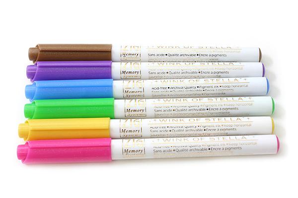 Kuretake Zig Wink of Stella Glitter Marker - 0.8 mm - 6 Color Set - KURETAKE MS-40-6V