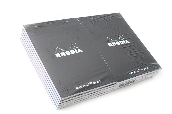 "Rhodia DotPad Notepad - Black - 5.75"" X 8.25"" - 80 Sheets - 5 mm Dot Grid - Bundle of 10 - RHODIA 16559 BUNDLE"