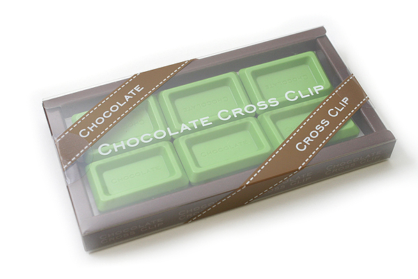 Ohto Chocolate Bar Cross Paper Clip - Maccha Green - Pack of 6 - OHTO CCC-420MACCHA