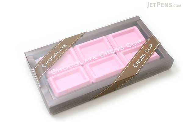 Ohto Chocolate Bar Cross Paper Clip - Strawberry Pink - Pack of 6 - OHTO CCC-420STRAWBERRY