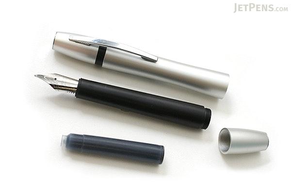Ohto Rook Fountain Pen - Fine Nib - Silver Black Body - OHTO FF10RO-SB