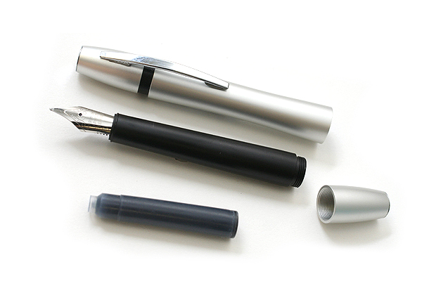 Ohto Rook Fountain Pen - Fine Nib - Silver Black Body - OHTO FF10RO-SB