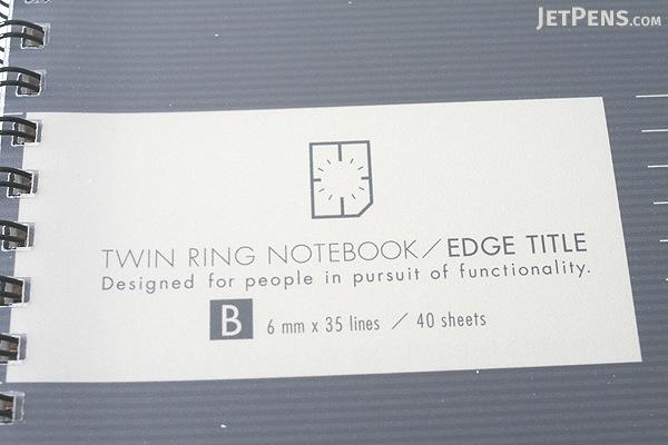 Kokuyo Edge Title Twin Ring Notebook - Semi B5 - Black - KOKUYO SU-TJ4B