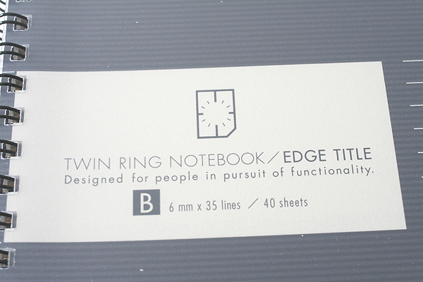 "Kokuyo Edge Title Twin Ring Notebook - Semi B5 (7"" X 9.8"") - 35 Lines - 40 Sheets - Black - Bundle of 5 - KOKUYO SU-TJ4B BUNDLE"