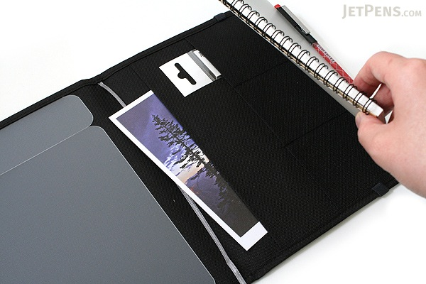 Kokuyo Systemic Refillable Notebook Cover - Twin Ring Notebook with Edge Title - A5 - Normal Rule - Black - KOKUYO NO-685B-D