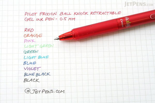 Pilot FriXion Ball Knock Retractable Gel Pen - 0.5 mm - Pink - PILOT LFBK-23EF-P