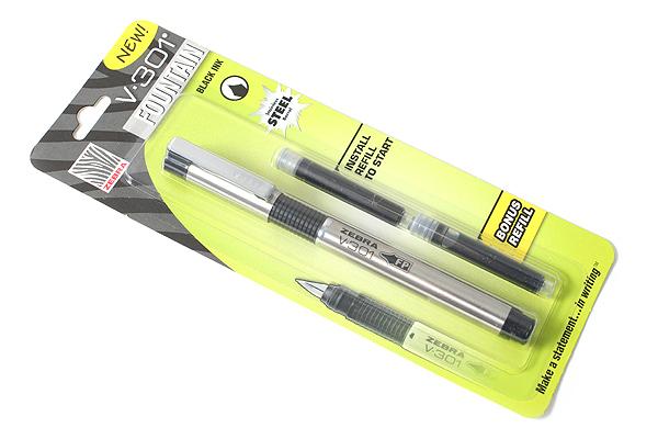 Zebra V-301 Fountain Pen - Medium Nib - Black Body - ZEBRA 48111
