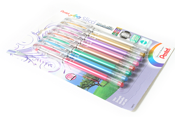 Pentel Slicci Metallic Gel Pen - 0.8 mm - 8 Color Set - PENTEL BG208BP8M