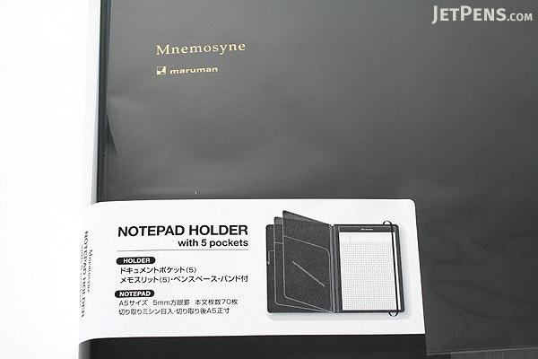 Maruman Mnemosyne HN187FA Notepad Holder with 5 Pockets + Notepad - A4 - 5 mm Graph - MARUMAN HN187FA