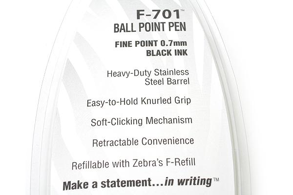 Zebra F-701 Stainless Steel Body Retractable Ballpoint Pen - 0.7 mm - Silver Body - Black Ink - ZEBRA 29411