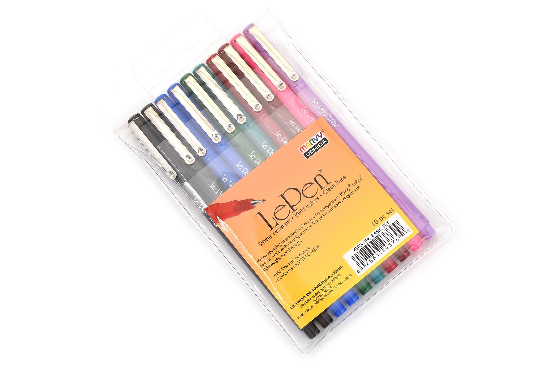 Marvy Le Pen Marker Pen - Fine Point - 8 Color - 10 Pen Set - MARVY 4300-10A