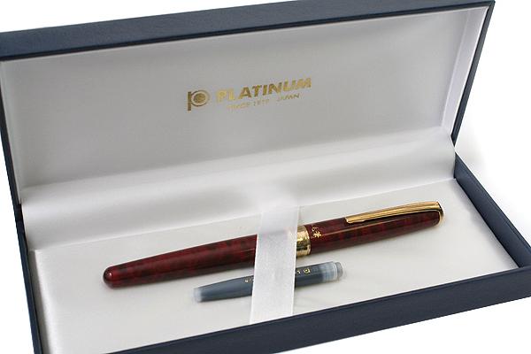 Platinum CF-5000 Natural Weasel Hair Brush Pen - Red Marble Print Body - PLATINUM CF-5000 70