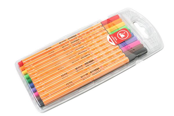 Stabilo Point 88 Fineliner Marker Pen - 0.4 mm - 10 Color Set - Wallet - STABILO 8810